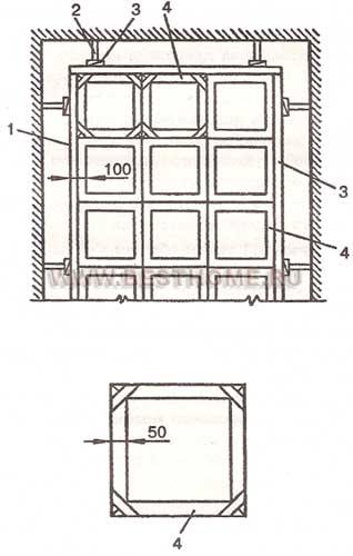Схема установки маячных и разделительных реек при устройстве ксилолитовых (мозаичных) полов по рисунку.