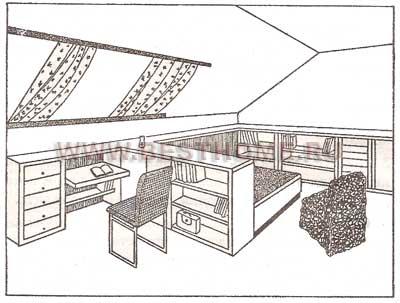 Рис. 170.  Личная комната в мансарде.