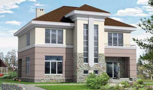Проекты двухэтажных кирпичных домов.  К полезной площади не причисляются внутренние коммуникационные трассы...