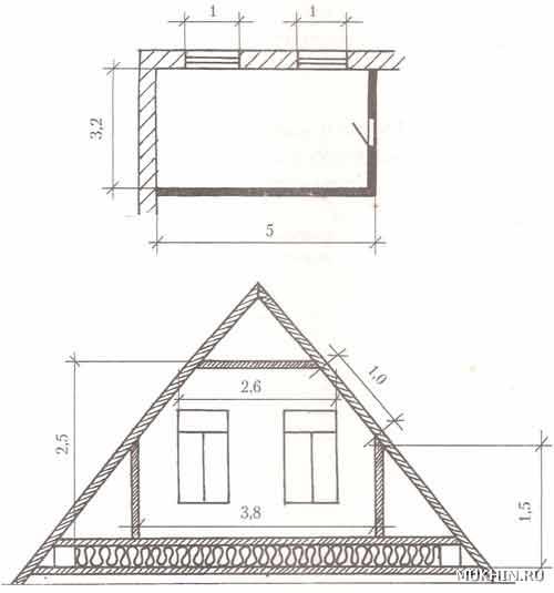 К расчету теплопотерь комнаты (размеры в м): а - угловая комната (первый этаж); б - комната под крышей (мансарда) .