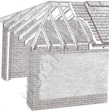 Вальмовая крыша имеет четыре наклонные плоскости (ската) .
