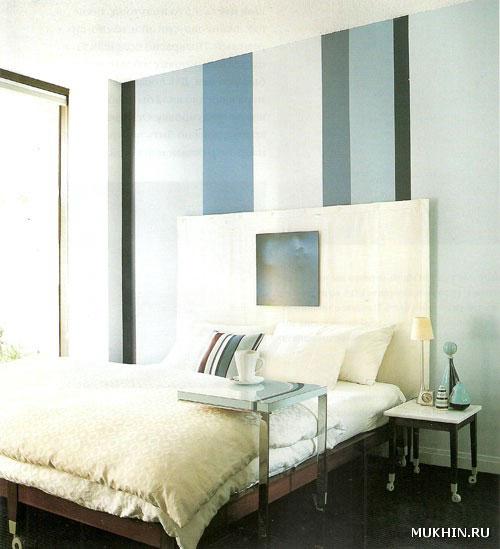 Эти широкие полосы прекрасно смотрятся на стене у изголовья кровати в спальне.  Графическая линейность сочетается с...