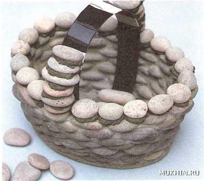 Корзина клумба из камня