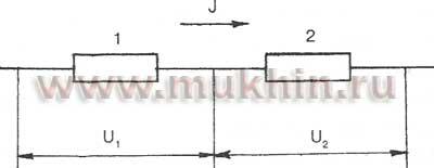 Последовательное соединение двух резисторов в цепи