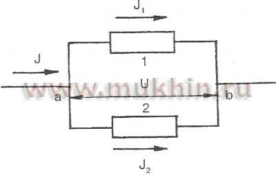Параллельное соединение двух проводников
