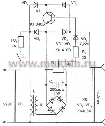 принципиальная электрическая схема регулятора напряжения