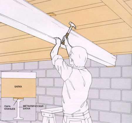 Как выровнять потолочные балки 177
