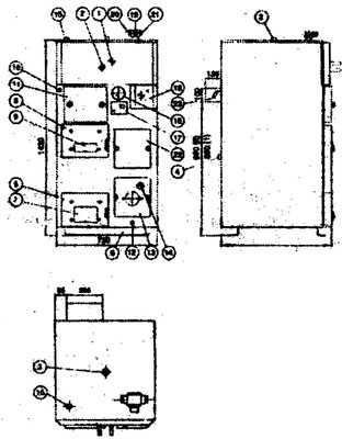 Принципиальная схема устройства котлов JASPI-TUPLA: 1 - горячая вода; 2 - холодная вода; 3 - патрубок...