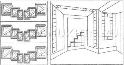 Вариант дизайна из стеклоблоков