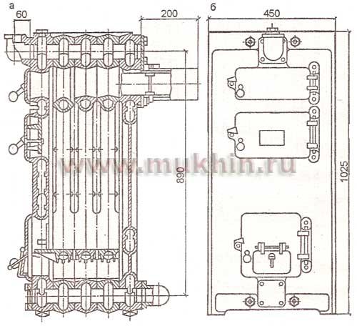 водогрейный котел КЧМ-1: а